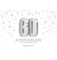 anniversary 60 silver 3d numbers vector image vector image