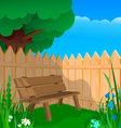 Bench fence and flowers vector image vector image