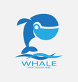 blue whale logo with wave vector image vector image