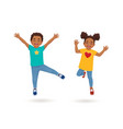 boy and girl jumping vector image vector image