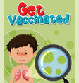 boy woth corona virus getting vaccinated vector image vector image