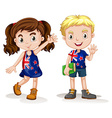 British boy and girl greeting vector image vector image