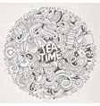 cartoon cute doodles tea time vector image vector image