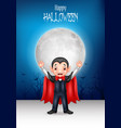 cartoon happy vampire with halloween background vector image vector image