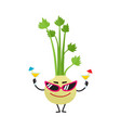 celery character in sunglasses summer vacation vector image vector image
