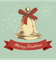 christmas bell in vintage colour vector image vector image