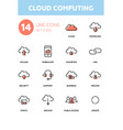 cloud computing - modern line design icons set vector image vector image