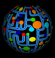 Colorful net abstract globe vector image