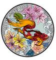 colorful siamese fighting fish or betta fish swim vector image vector image