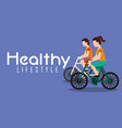 couple riding bike healthy lifestyle banner vector image vector image