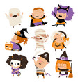 cute cartoon happy kids in halloween costumes vector image vector image
