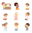 cute little kids characters kneeling in prayer set vector image vector image
