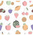 Cute seamless pattern with exotic fruits cartoon