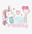 cute unicorn with hairstyle and heart balloons vector image vector image