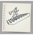 Doodle businessman with briefcase walking upstairs vector image