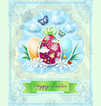 easter card with eggs in vintage style vector image vector image