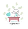 economist sitting at work vector image