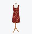 Elegant red dress vector image