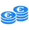 euro coin stacks grunge icon vector image vector image