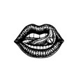 face detailed kiss or lips fashion tattoo artwork vector image vector image