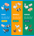 farm animals 3d banner vecrtical set isometric vector image vector image