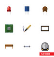 flat icon technology set of mainframe resistor vector image vector image