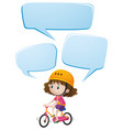 girl on bike with three speech bubbles vector image vector image