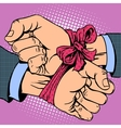 Hand tied ribbon vector image vector image