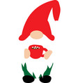 happy christmas gnome with christmas cup on white vector image vector image