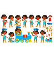indian girl kindergarten kid poses set vector image