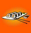japanese food rolls pop art vector image