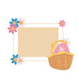 label rabbit ears and flowers vector image vector image