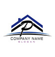 letter p house logo vector image vector image