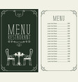 menu with price image served table and chairs vector image vector image