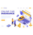 online car insurance isometric concept vector image vector image