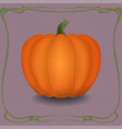 orange pumpkin in vintage frame vector image vector image