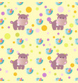 pattern with cartoon cute toy baby behemoth bird vector image vector image