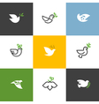 Peace dove with green branch set of icons and logo vector image vector image