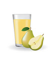 pear juice with a glass vector image vector image