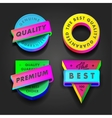Premium quality and guarantee multicolored labels vector image