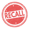 recall sign or stamp vector image vector image