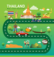 road map and journey route in thailand vector image