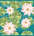 seamless pattern set lily lotus parts flat vector image vector image