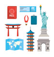 set global towers explore vacation vector image vector image