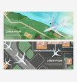 set of horizontal banners with airplanes flying vector image vector image