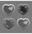 Set of Metal hearts with silver gears vector image vector image