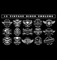 set vintage biker emblems vector image vector image