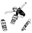 skateboarder jumping on white background skates vector image vector image