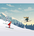skiing in mountains vector image vector image