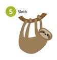 sloth letter s zoo animal alphabet english abc vector image vector image